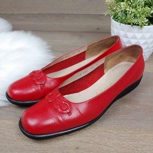 Salvatore Ferragamo Red Leather Flats Loafers